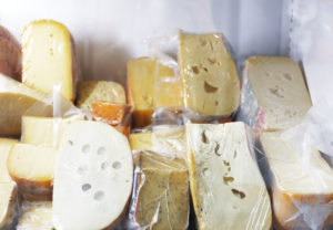Cheese types in sealed bags