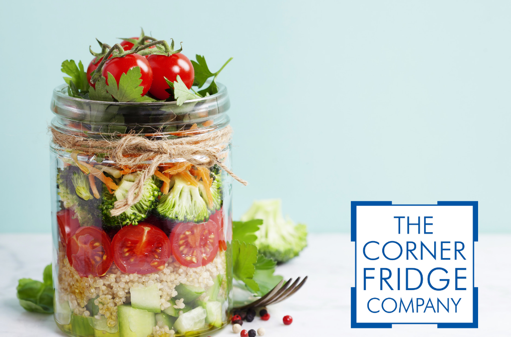 Mason Jar with Salad with Corner Fridge