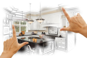 Female Hands Framing Custom Kitchen Design Drawing and Photo Combination