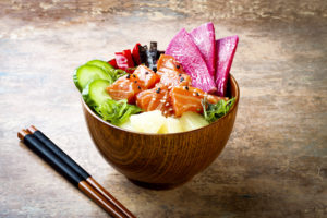 Hawaiian Food in a Bowl with Chopsticks