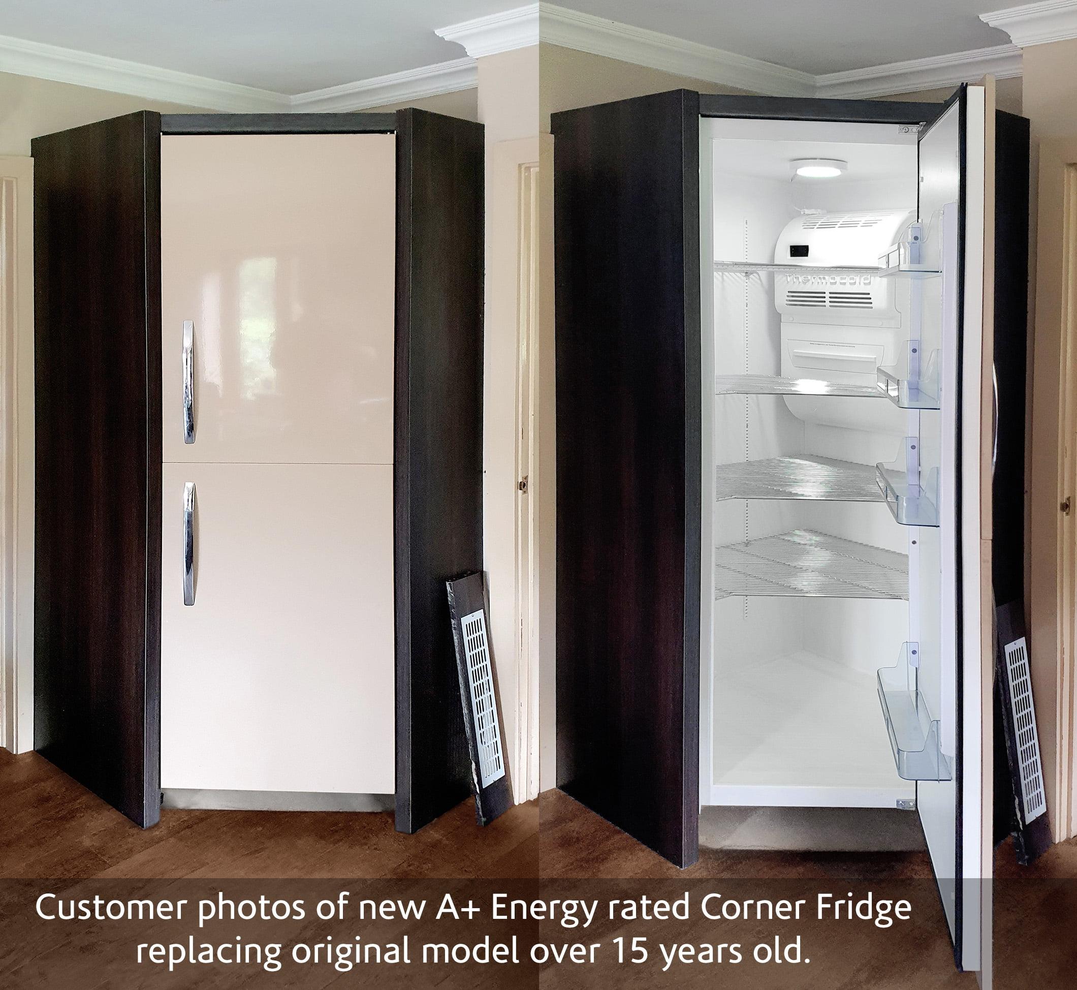 Corner Fridge between doors 2 photos and caption